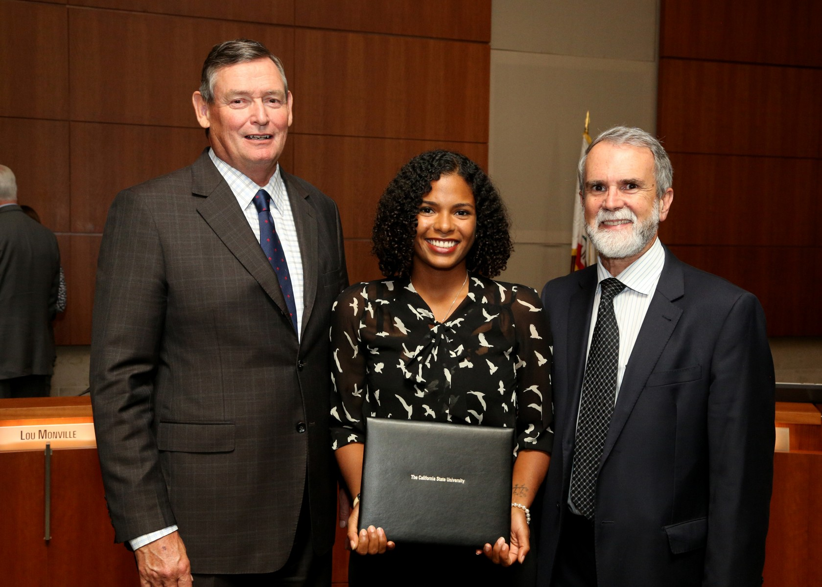 Maylin Caldwell with CSU Chancellor and CSUSM Provost