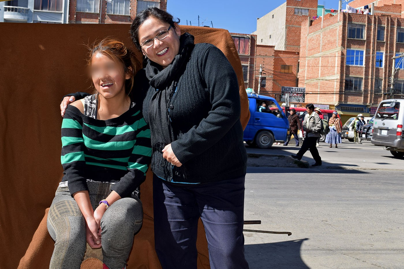 Katty and IJM social worker Jeshika Mendoza in El Alto, Bolivia