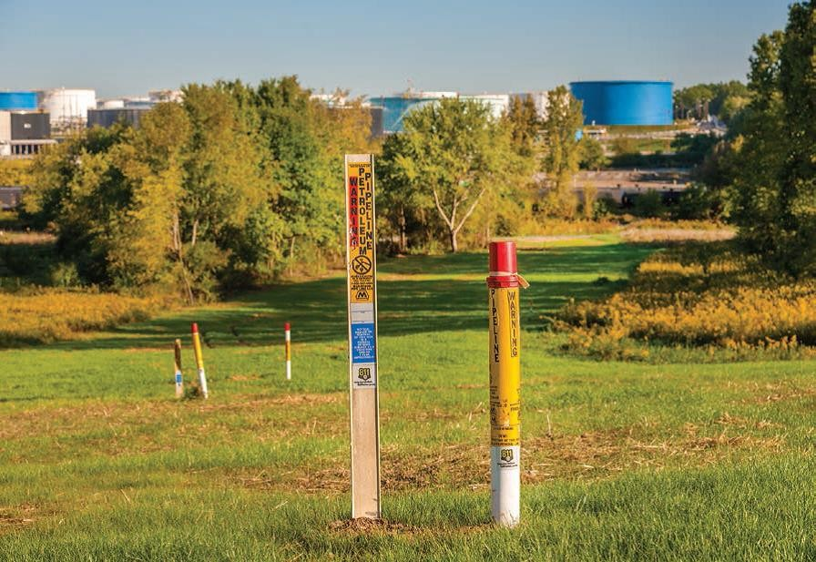 Pipeline markers point out the final leg of Cornerstone Pipeline as it nears the Canton refinery.