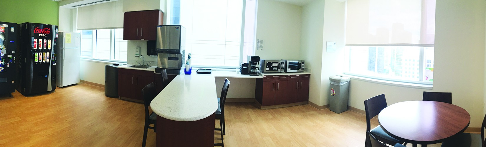 A kitchen was built for families of patients in the pediatric intensive care unit floor at Ann & Robert H. Lurie Children's Hospital of Chicago.