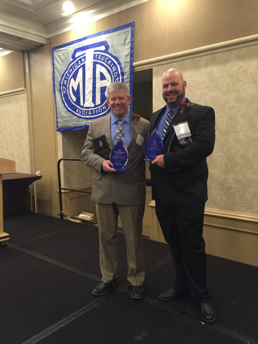 MPC employees Scott Barrington and Chris Ross were both recognized at the Michigan Trucking Association Safety Banquet.