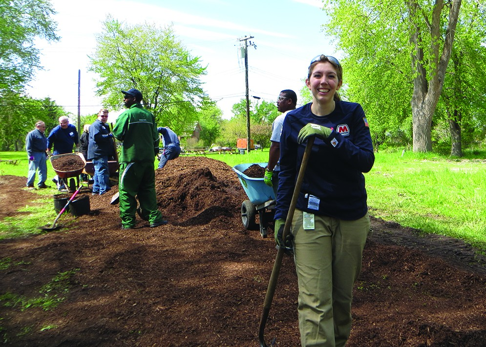 MPC's Anita Wills joined dozens of volunteers to continue the greening of Oakwood Heights