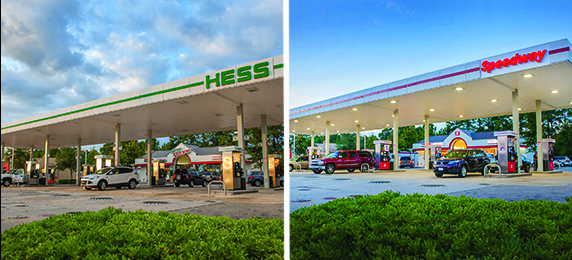 Hess to Speedway conversion - before (left) and after (right).
