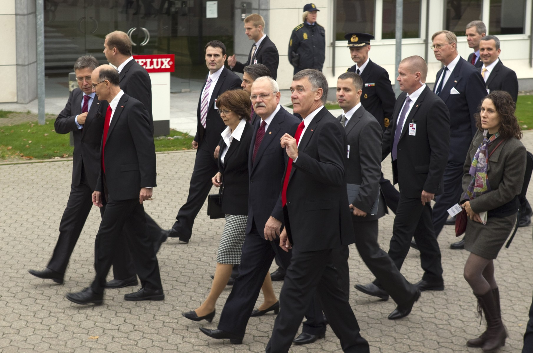 President Ivan Gasparovic and his wife are accompanied by VELUX CEO Jorgen Tang-Jensen