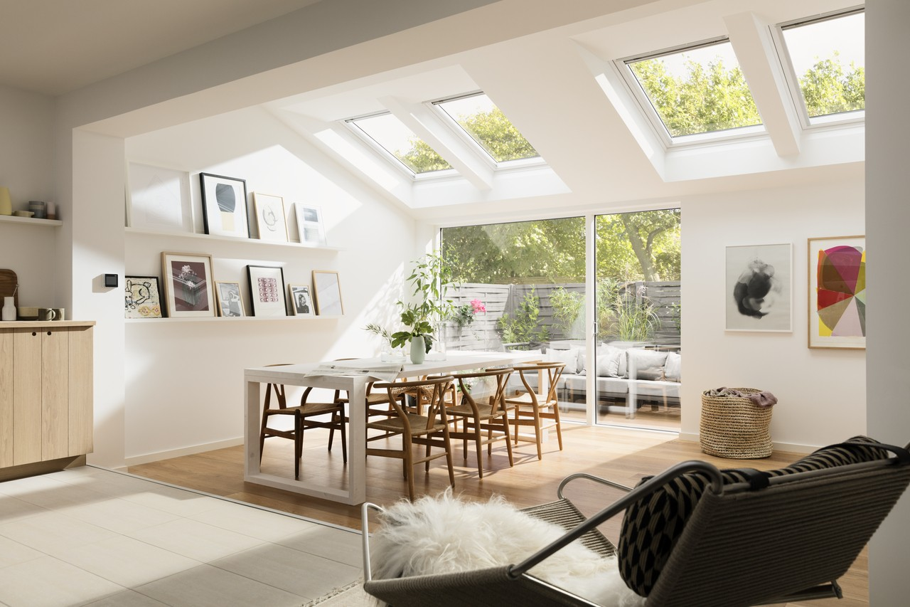Velux unveils new white painted roof windows for Interior decoration living room roof