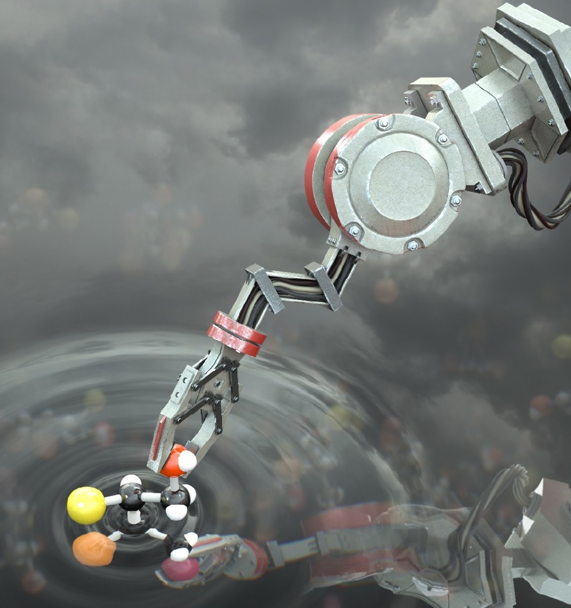 Artist's impression of the molecular robot manipulating a molecule
