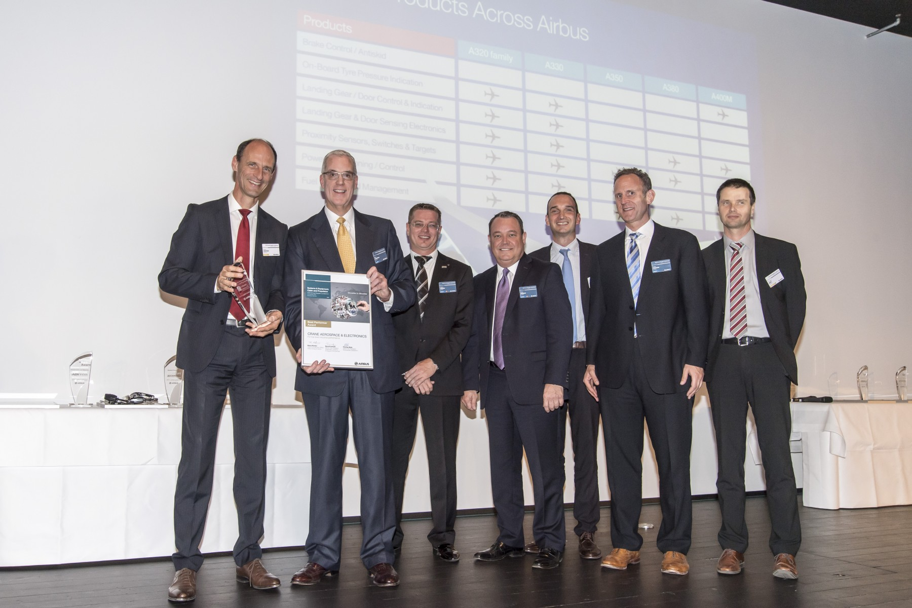 Crane receives a Best Performer Award from Airbus at the 2016 Airbus Supplier Conference in Hamburg, Germany on October 5, 2016
