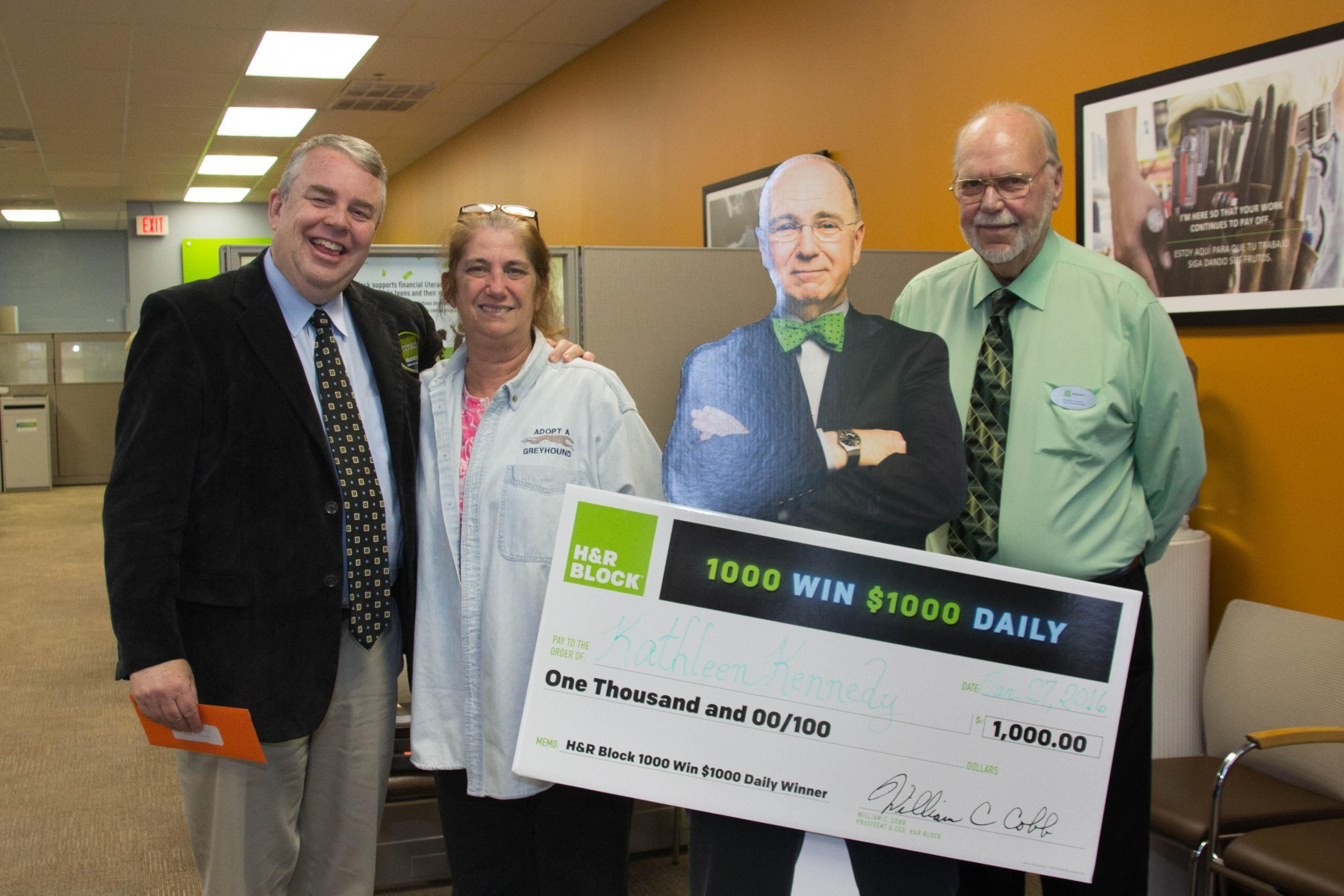 Deland, Fla. Winner of H&R Block's 1,000 Win $1,000 Sweepstakes Celebrates at Tax Office