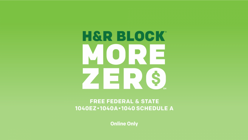 H&R Block More Zero Includes Free Online Filing of Itemized Deductions