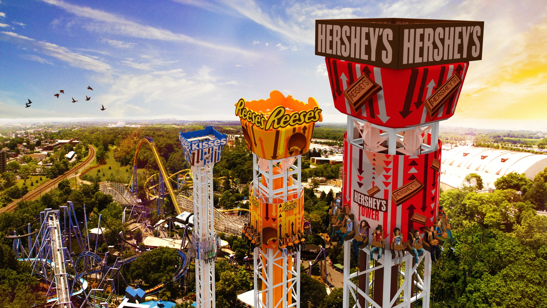 Hersheypark Announces Hershey Triple Tower Opening In 2017