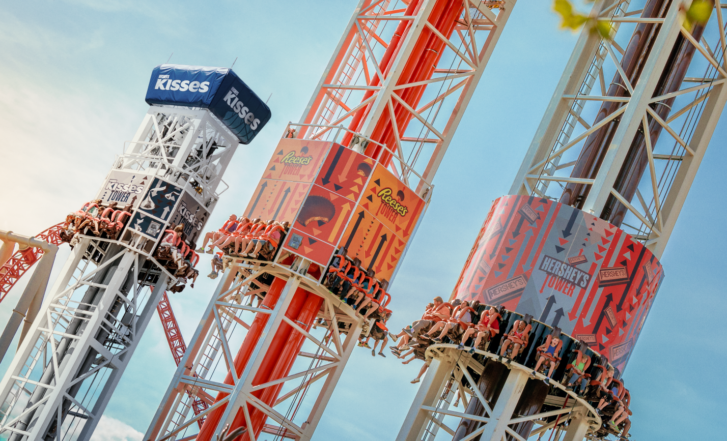 Season Pass Holders get early access to the new Hershey Triple Tower with extended Sweet Start.
