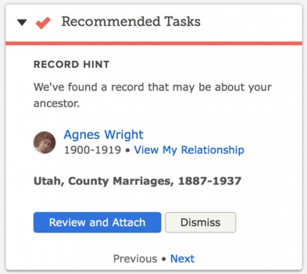 FamilySearch Record Hints