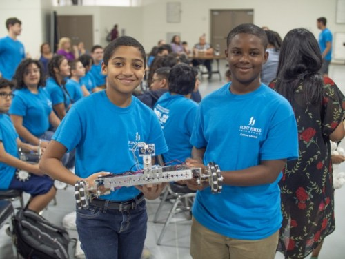 Robot races among the projects demonstrated at engineering summer camp image