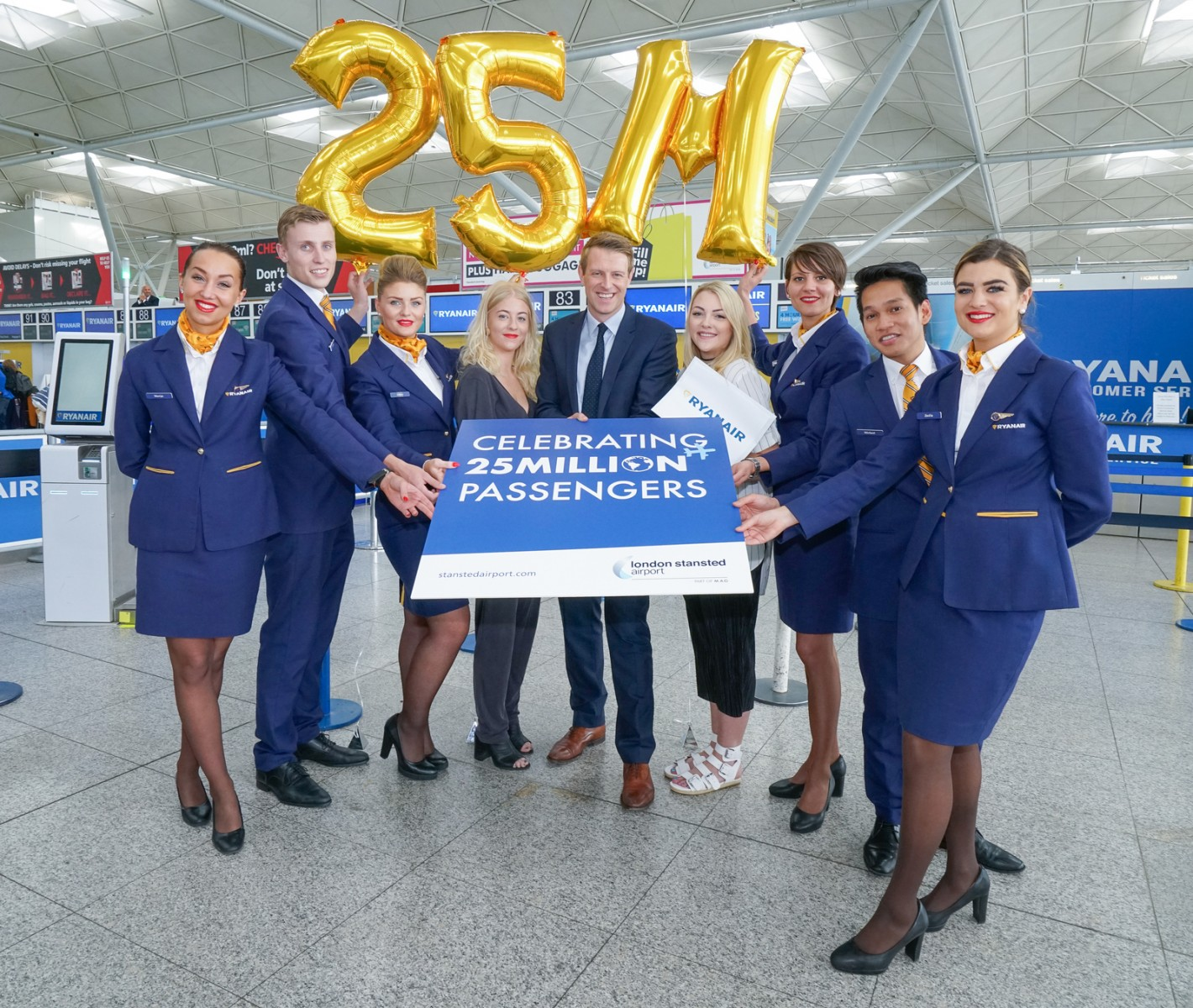 London stansted celebrates 25 million passengers by surprising two london stansted celebrates 25 million passengers by surprising two holidaymakers with free flights kristyandbryce Choice Image