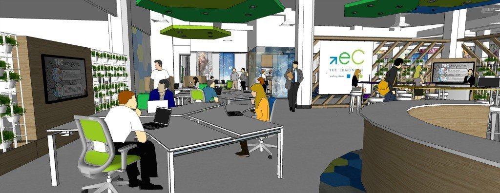 The TEC Innovation District is a 24-hour community workspace designed to help tech entrepreneurs and companies grow their business. (Illustration: TEC Edmonton)