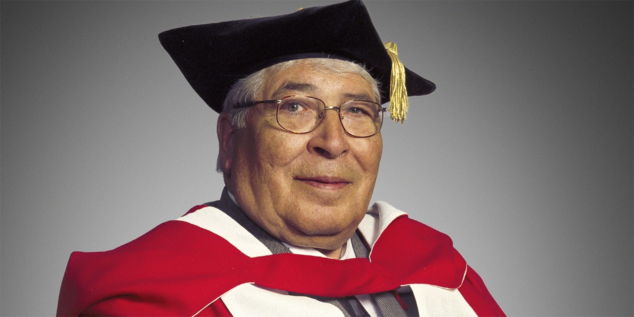 Herb Belcourt was awarded an honorary degree from the U of A in 2001. (Photo: Richard Siemens)