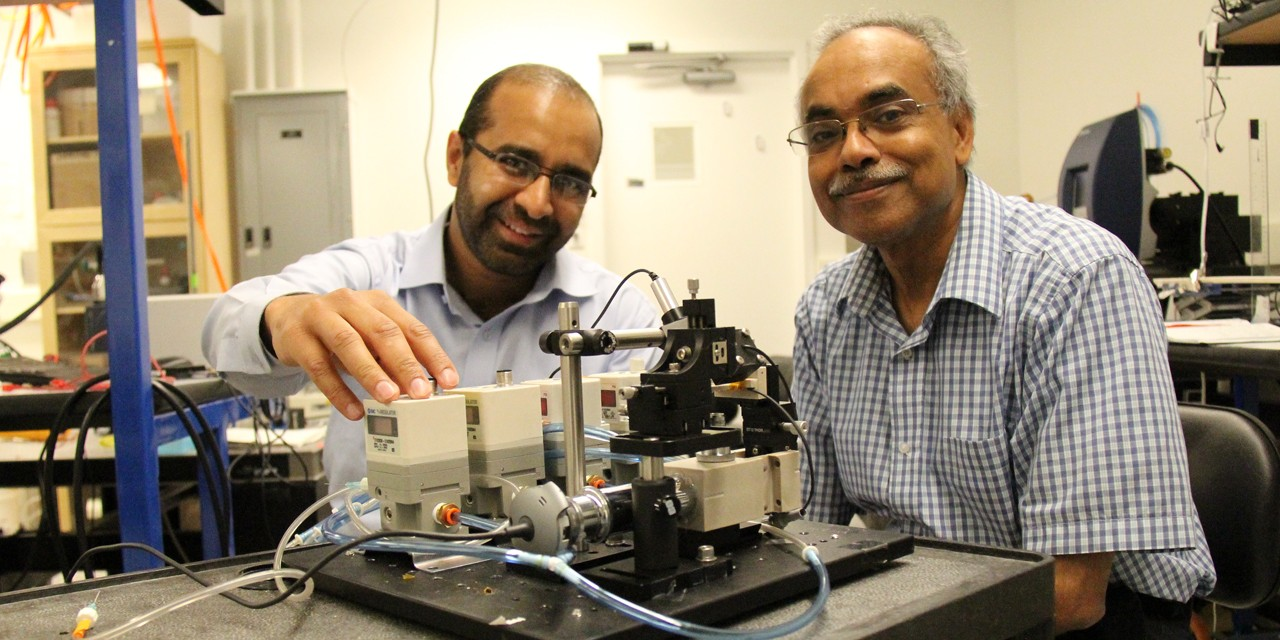 UAlberta Engineering researchers Faheem Khan and Canada Excellence Research Chair Thomas Thundat have worked with collaborators in South Korea to develop an inexpensive biomedical device capable of identifying proteins. (Photos by Richard Cairney)
