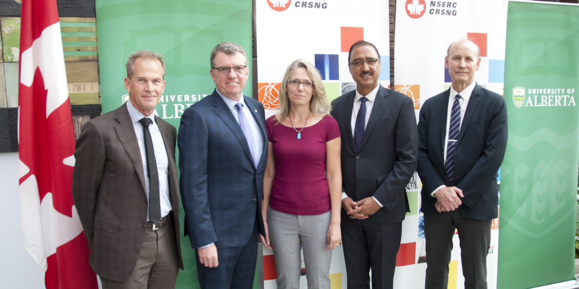 (From left) Alfred LeBlanc, UAlberta president David Turpin, Justine Karst,  Hon. Amerjeet Sohi and Walter Dixon were on hand to announce $26.1 million in funding from NSERC. (Photo by Michael Brown)