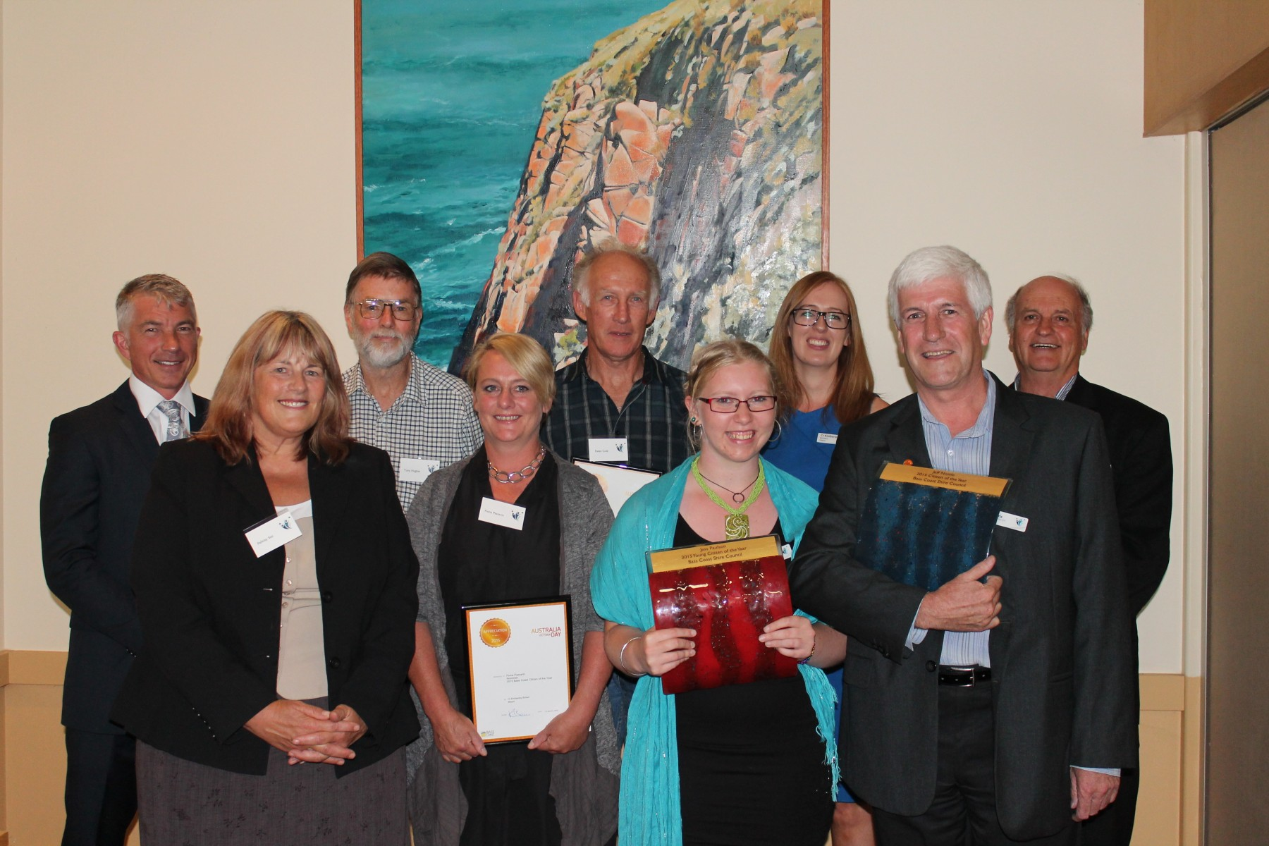 (clockwise from back left) Member for Bass, Brian Paynter MP; Tony Hughes; Ewan Cole; Bass Coast Shire Council Mayor, Kimberley Brown; John Duscher; 2015 Bass Coast Citizen of the Year, Jeff Nottle; 2015 Bass Coast Young Citizen of the Year, Jess Paulson; Fiona Passarin; and Council Acting CEO, Felicity Sist.