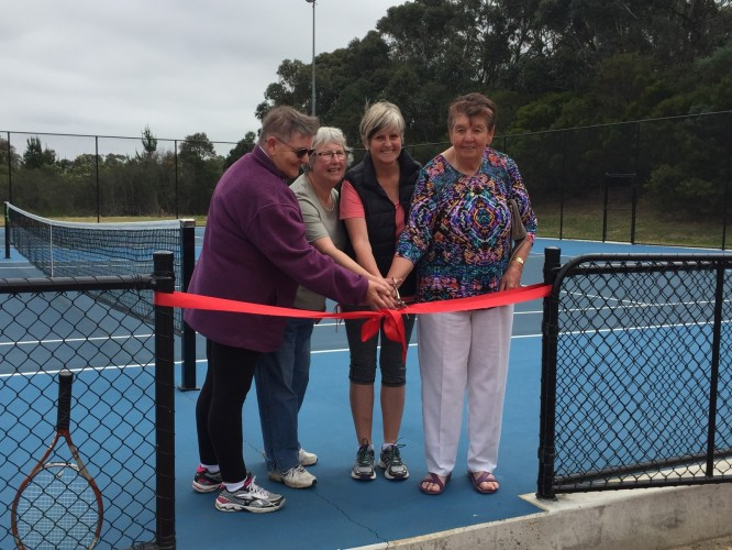 Wonthaggi+District+Tennis+Club+Life+members+Sophie+Pothof%2C+Margaret+McCulley%2C+Carol+Sleeman+and+Ivy+Sheppard+cut+the+ribbon+to+open+the+new+courts.