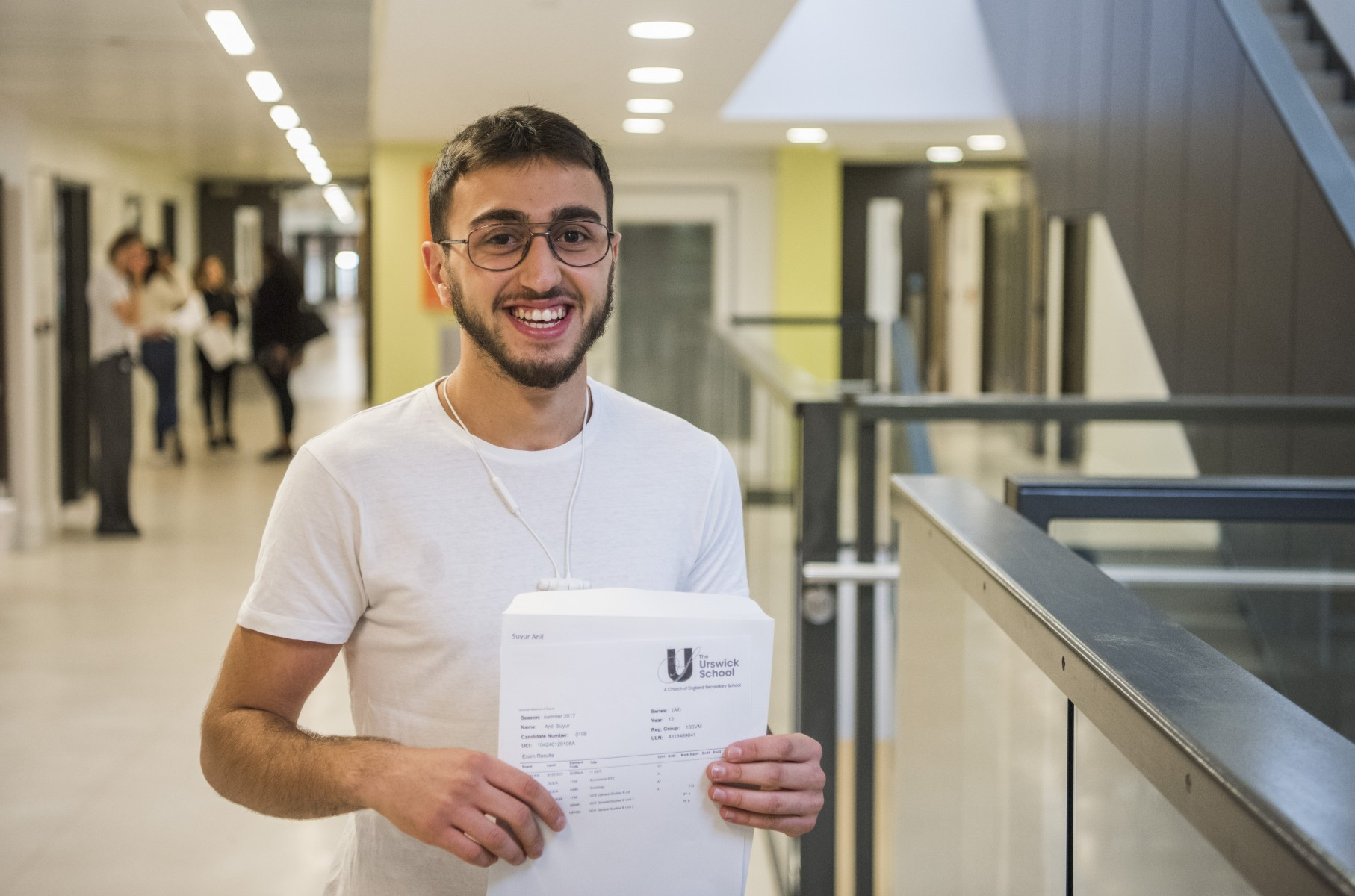 Anil Suyur from Urswick School celebrates after getting grades D1 Distinction A A A at A Level