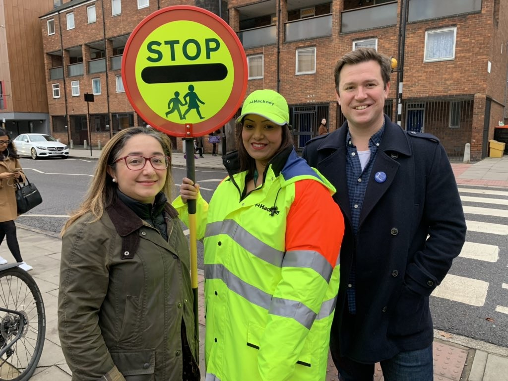 Deputy Mayor Feryal Demirci, new school crossing patrol officer Sandy and ward councillor Steve Race