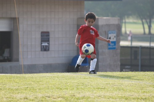 Quentin playing soccer