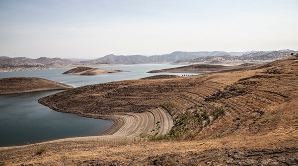 The Friant Dam on the San Joaquin River at drought levels. Photo by Kristine Diekman
