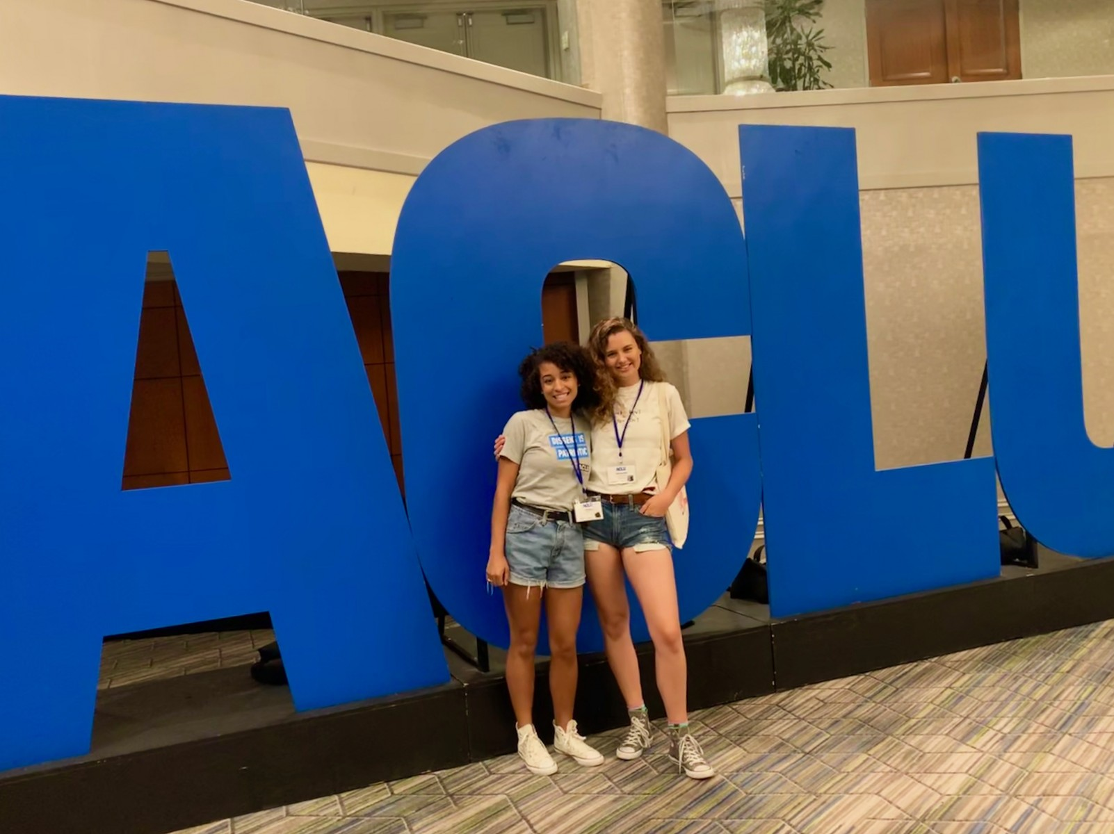 CSUSM students Janelle Esprit (left) and Samantha Caracciolo, who both work in the Office of Inclusive Excellence, participated in the ACLU Advanced Advocacy Institute in Washington, D.C., over the summer.