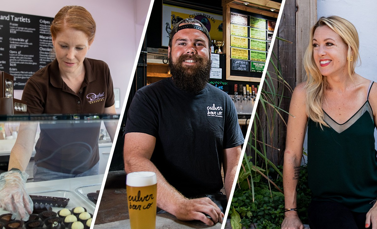 Among the CSUSM alumni whose food and drink businesses have been impacted by COVID-19 are (from left) Dayleen Coleman of D'Liteful Chocolat in Lake San Marcos, Mike Stevenson of Culver Beer Co. in Carlsbad and Jessica Waite of The Plot restaurant in Oceanside.
