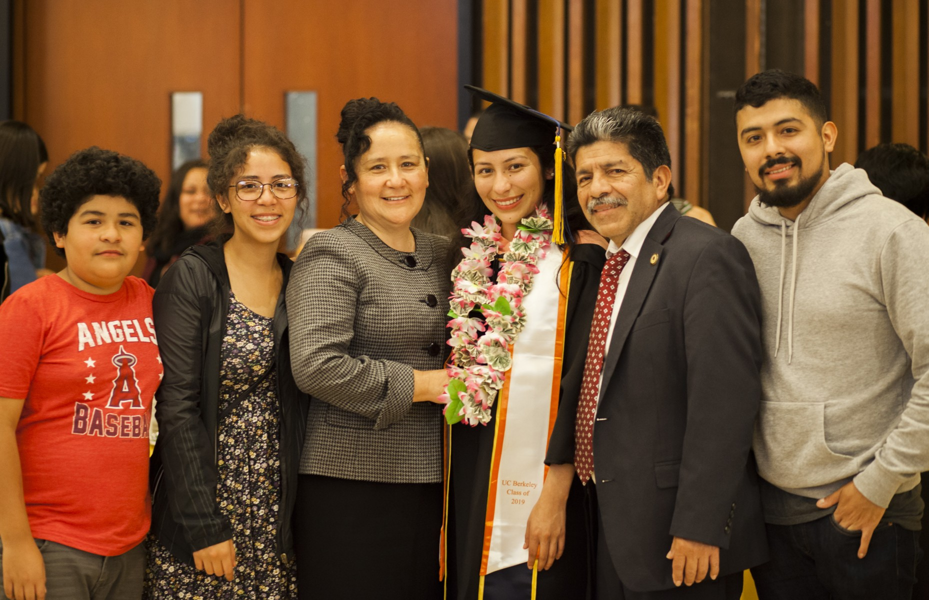 Amiel Maldonado, who earned her bachelor's at CSUSM in 2017, celebrates with family members at UC Berkeley's Dreamers graduation ceremony last spring. Maldonado earned her master's in public health from Berkeley.