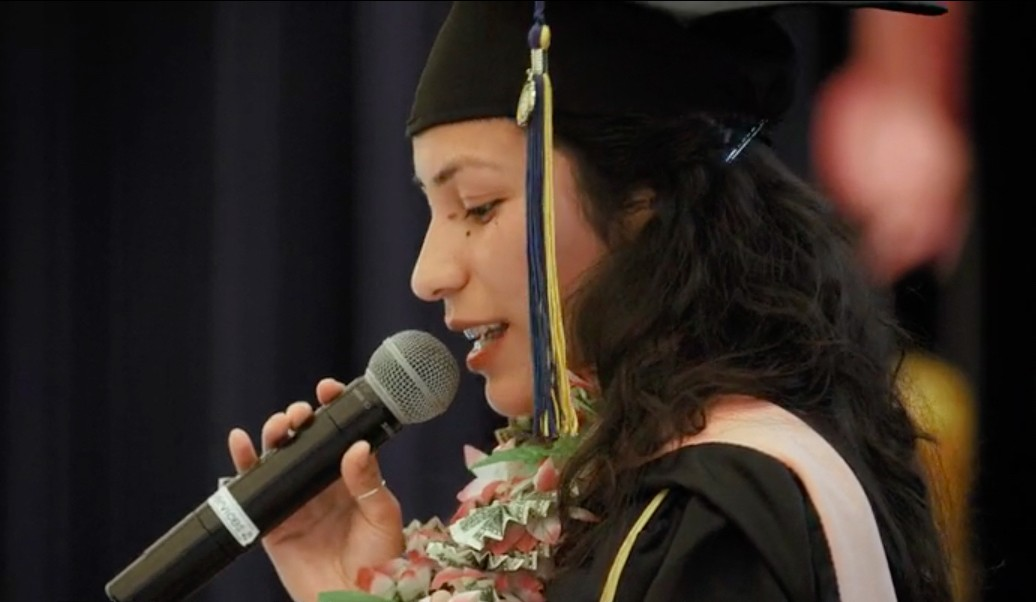 Amiel Maldonado, who earned her bachelor's at CSUSM in 2017, speaks at UC Berkeley's Dreamers graduation ceremony last spring. Maldonado earned her master's in public health from Berkeley.