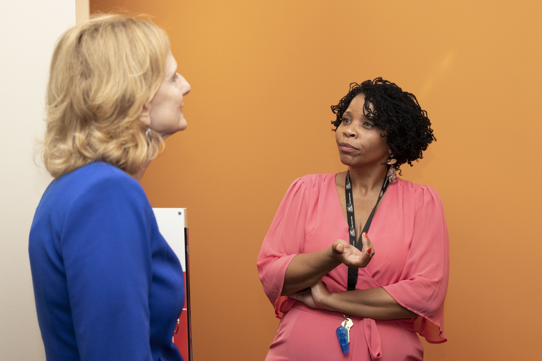 Betina Scott (right), pictured with President Ellen Neufeldt during her Listening and Learning Tour, is the director of FACES.