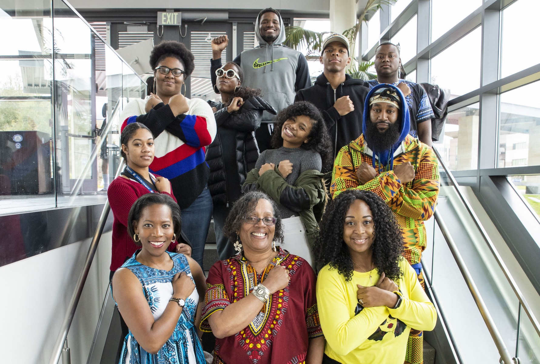 Black students and staff members pose for a photo outside the Black Student Center in 2019.