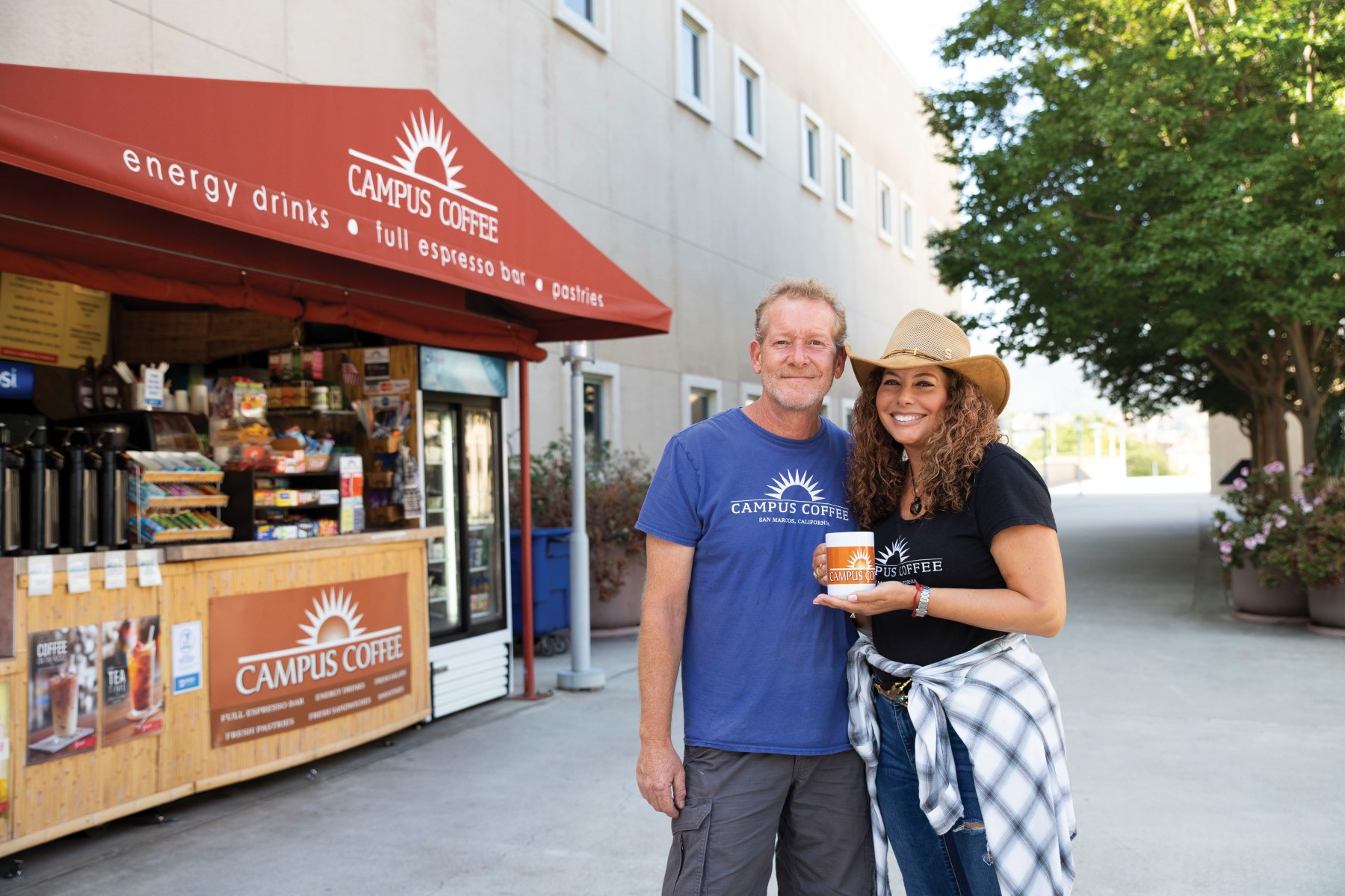 Tim and Sandra Sabbatini are celebrating their 15th anniversary as the owners of Campus Coffee at Cal State San Marcos. Photo by Andrew Reed