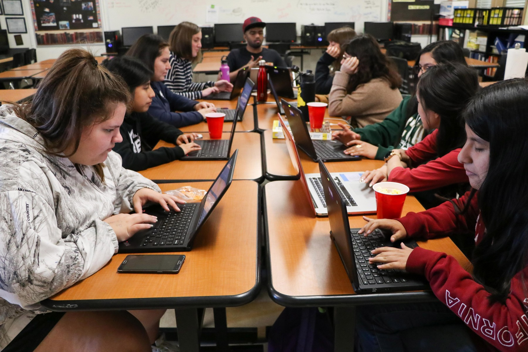 female students coding