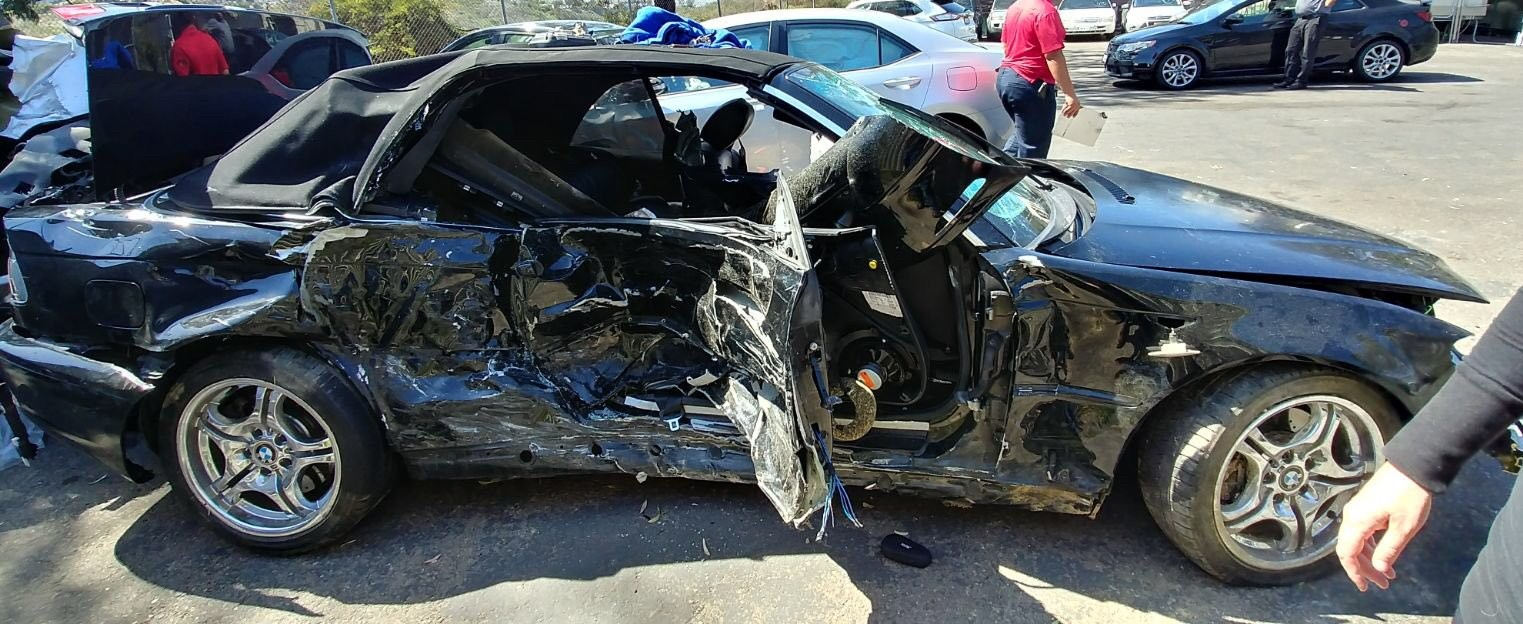 Dante Longo was in the passenger seat of this car when it was struck by an SUV traveling 80 mph in April 2018. Despite being in a coma for nearly a week following the accident, Longo has returned to the CSUSM men's soccer team in 2019.