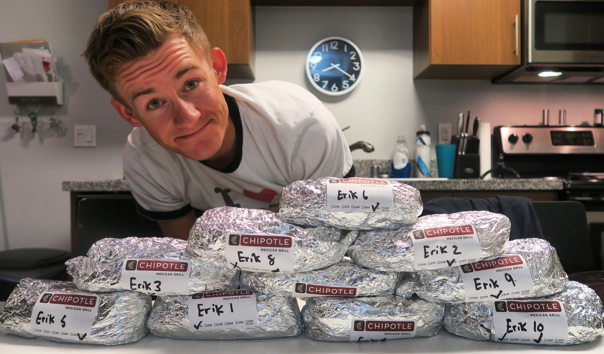 CSUSM alumnus Erik Lamkin, better known as Erik the Electric on social media, took on a Chipotle burrito challenge in 2015, attempting to polish off 10 burritos in an hour.