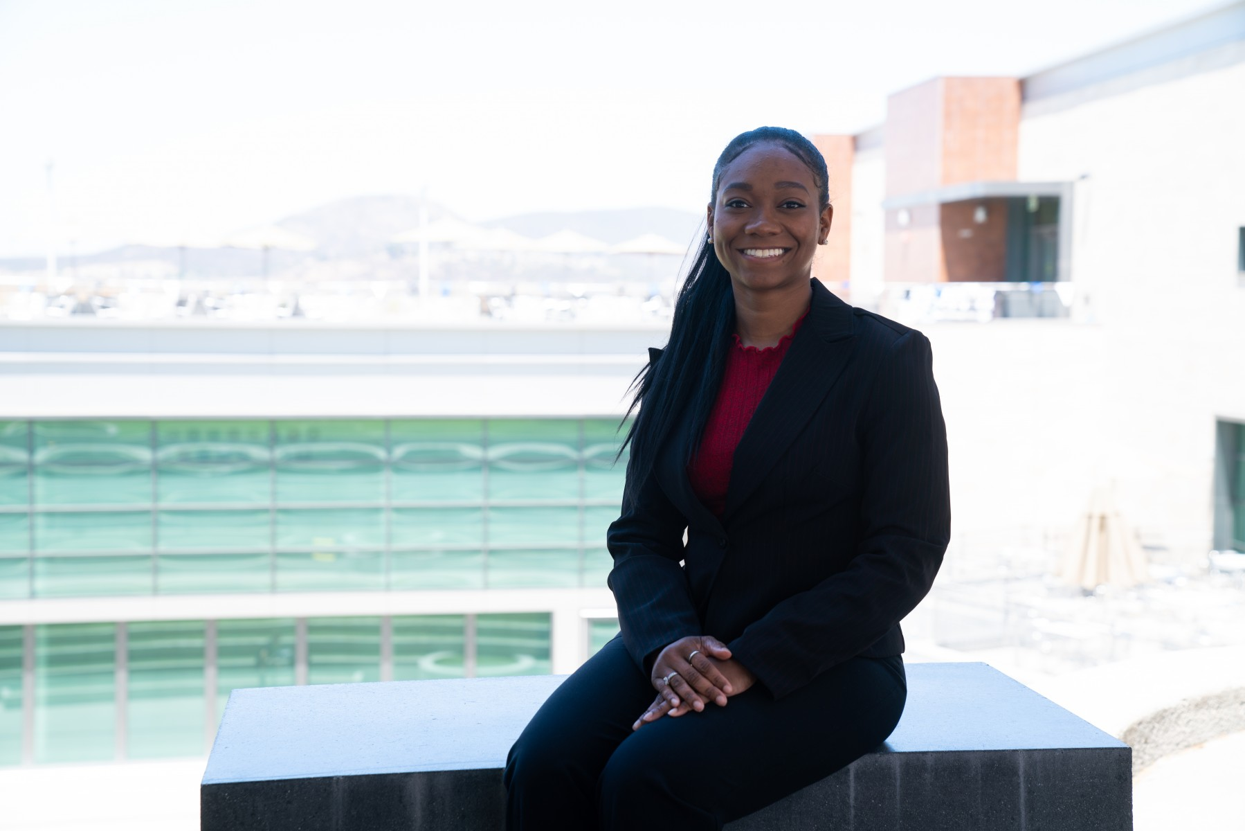 "Holly Hampton has only been in the job for a few months, but she's already amazed by the level of care on campus. ""I have been in awe of the way students' needs – all of their needs – have been addressed here at CSUSM,"" she says. Photo by Chandler Oriente"
