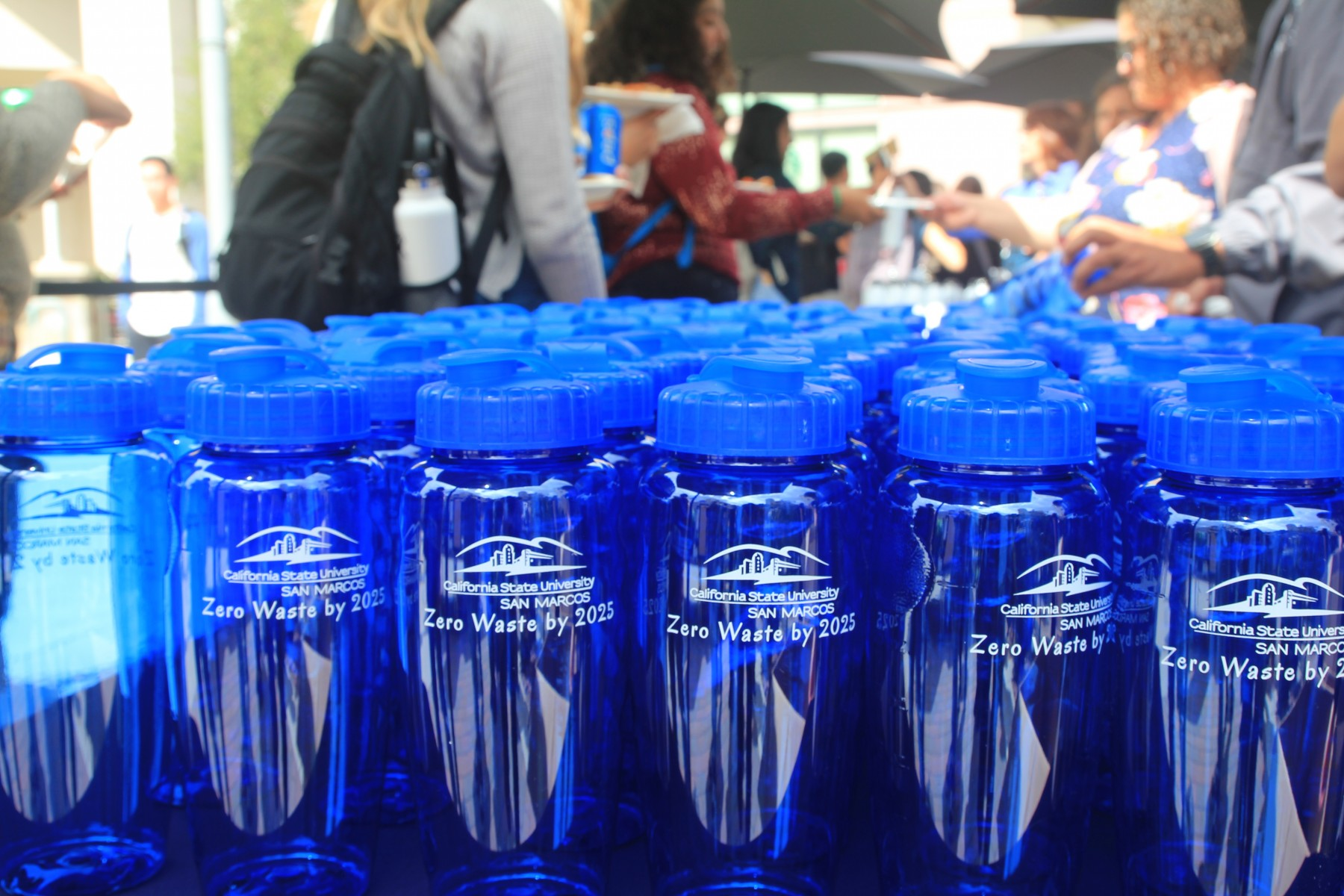 Reusable water bottles are on display during the Journey to Zero Waste event in 2018.