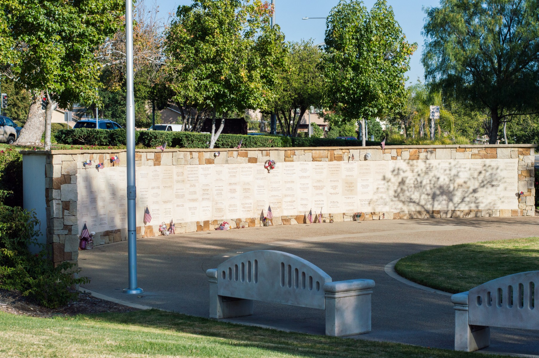 The All Veterans Memorial in San Marcos was christened in 2009 but ran out of room for more names several years ago. Photo by Angelica Pena