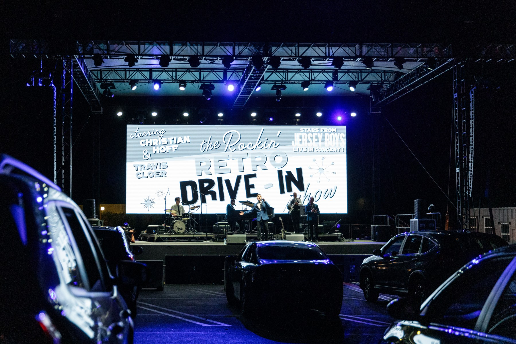 A band performs at the drive-in movie and concert series at the Westfield North County mall last month. The drive-in series will take place at CSUSM for the rest of the fall.