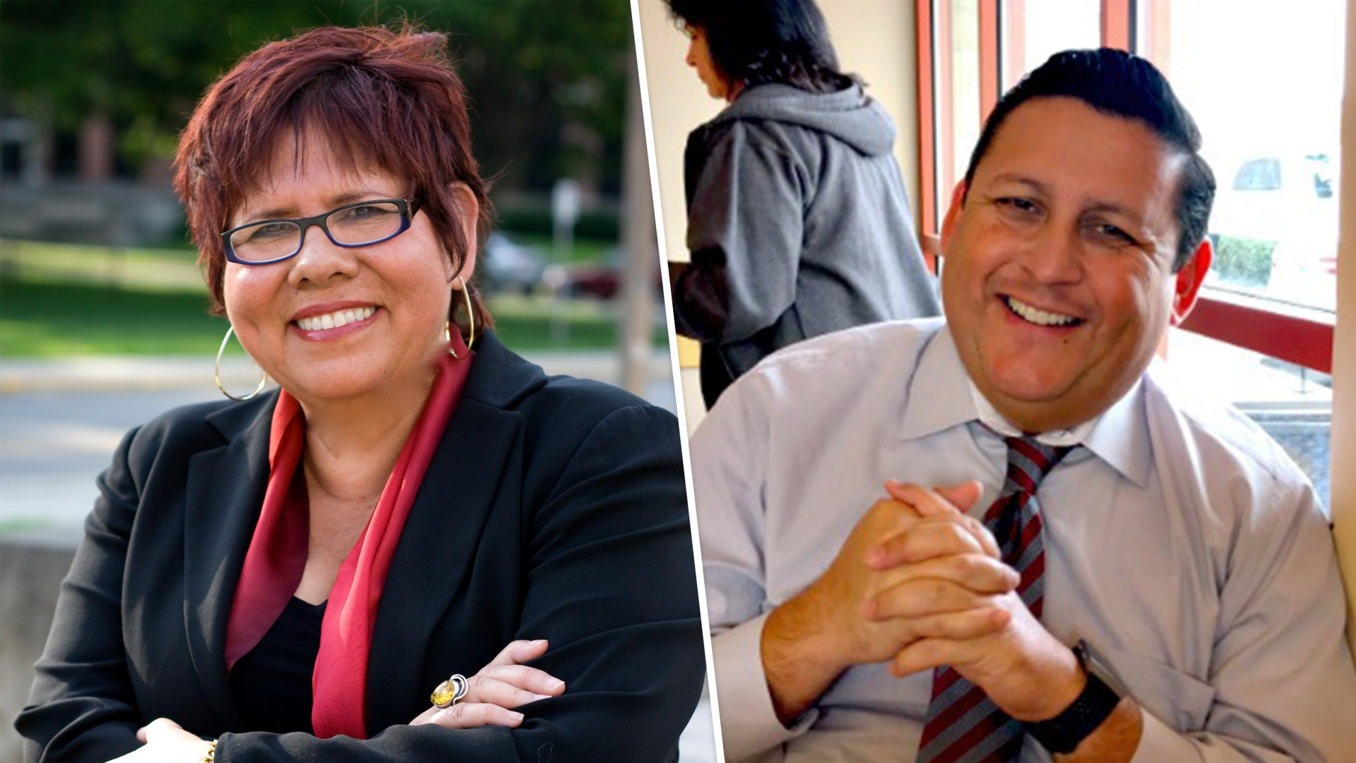 Laura Rendon (left) and Jose Manuel Villarreal spoke at a virtual event for the César Chávez Day of Service last week.
