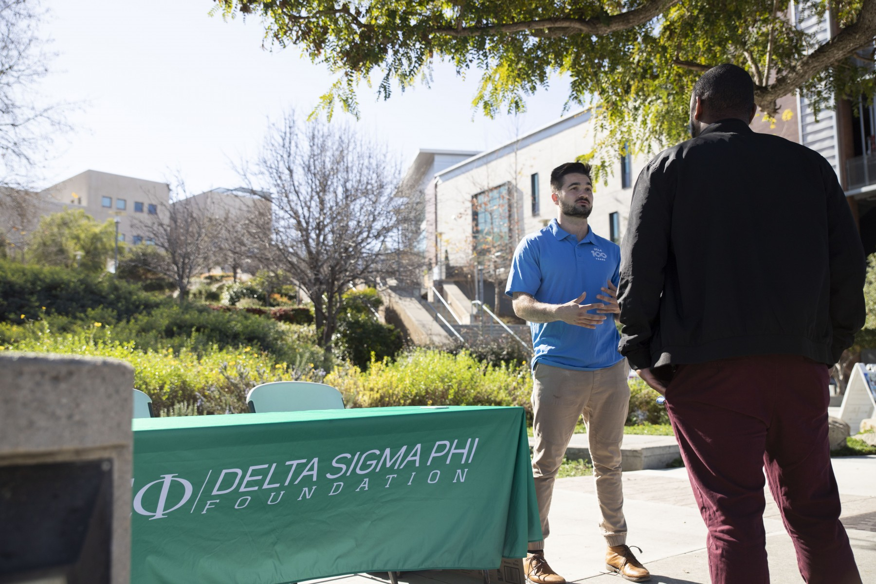 Delta Sigma Phi recruitment specialist Will Miller was on  campus in February to provide information and recruit potential members for the new CSUSM chapter of the fraternity. Photo by Andrew Reed