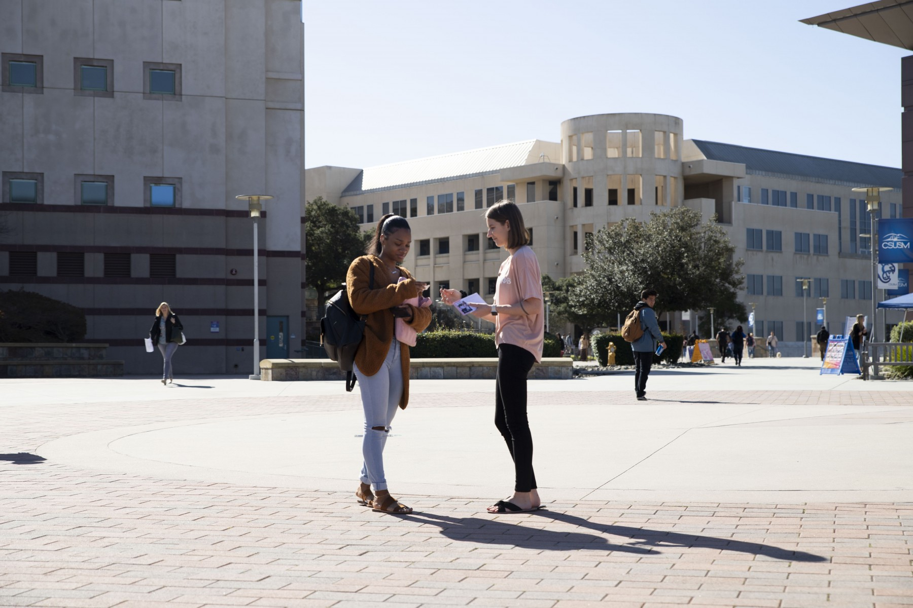 Representatives from Gamma Phi Beta  were on campus throughout February to provide information and recruit potential members for the new CSUSM chapter of the sorority. Photo by Andrew Reed