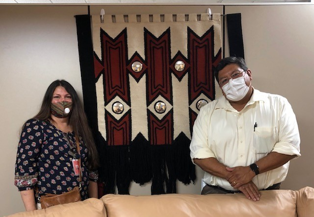 CSUSM alumna Peery White (left) works as a contract epidemiologist and tribal liaison for San Diego County. Last fall, she visited an Indian Health Council site with Dan Calac (right), an IHC doctor.