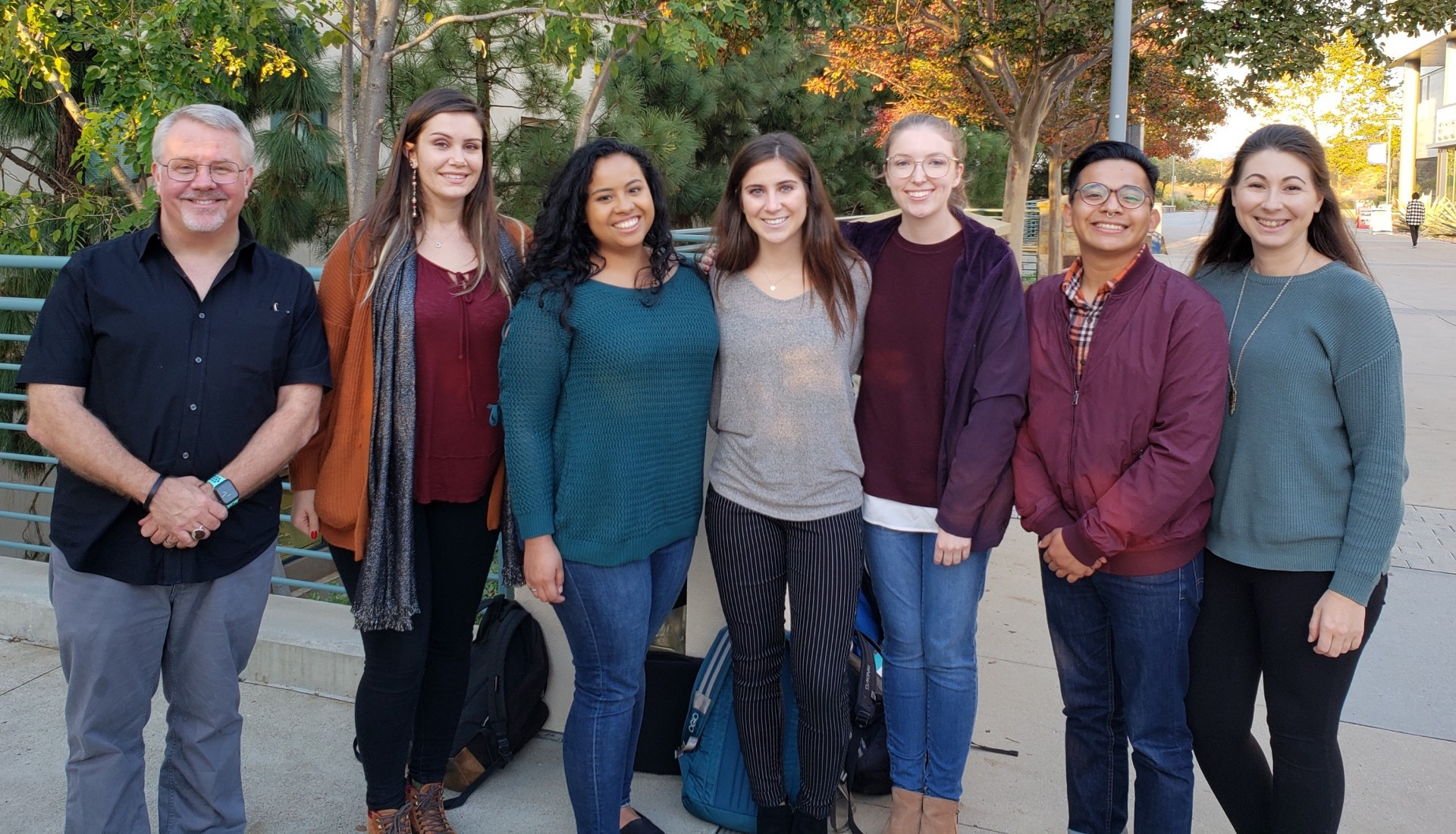 John Warner (far left), co-founder of the Warner Babcock Institute for Green Chemistry, poses with members of CSUSM chemistry professor Robert Iafe's lab, including (left to right) Brysa Alvarado, Emily Aguilar, Amanda Melanese, Emily Lyon, Roberto Leon Baxin and Amanda Smolin.