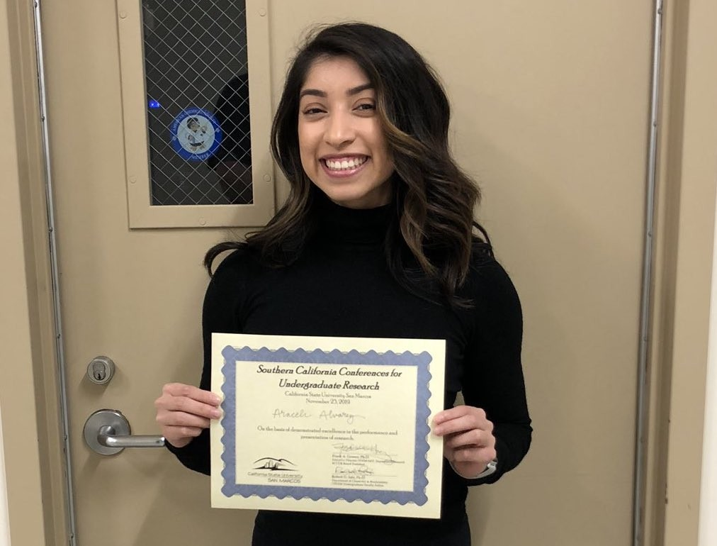 Biochemistry student Araceli Alvarez received an Exemplary Award for her oral presentation at the Southern California Conferences for Undergraduate Research on Nov. 23.