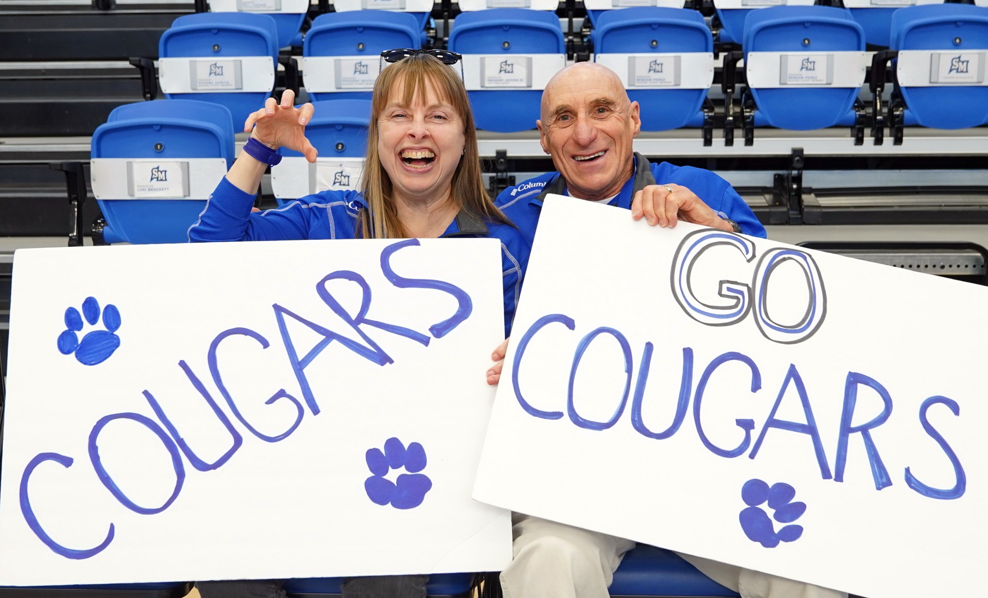 Longtime CSUSM supporters Carleen Kreider and Dick Lansing are covering admission costs for the first 100 students at Friday night's women's basketball game between the Cougars and Cal State East Bay at UCSD's RIMAC Arena.