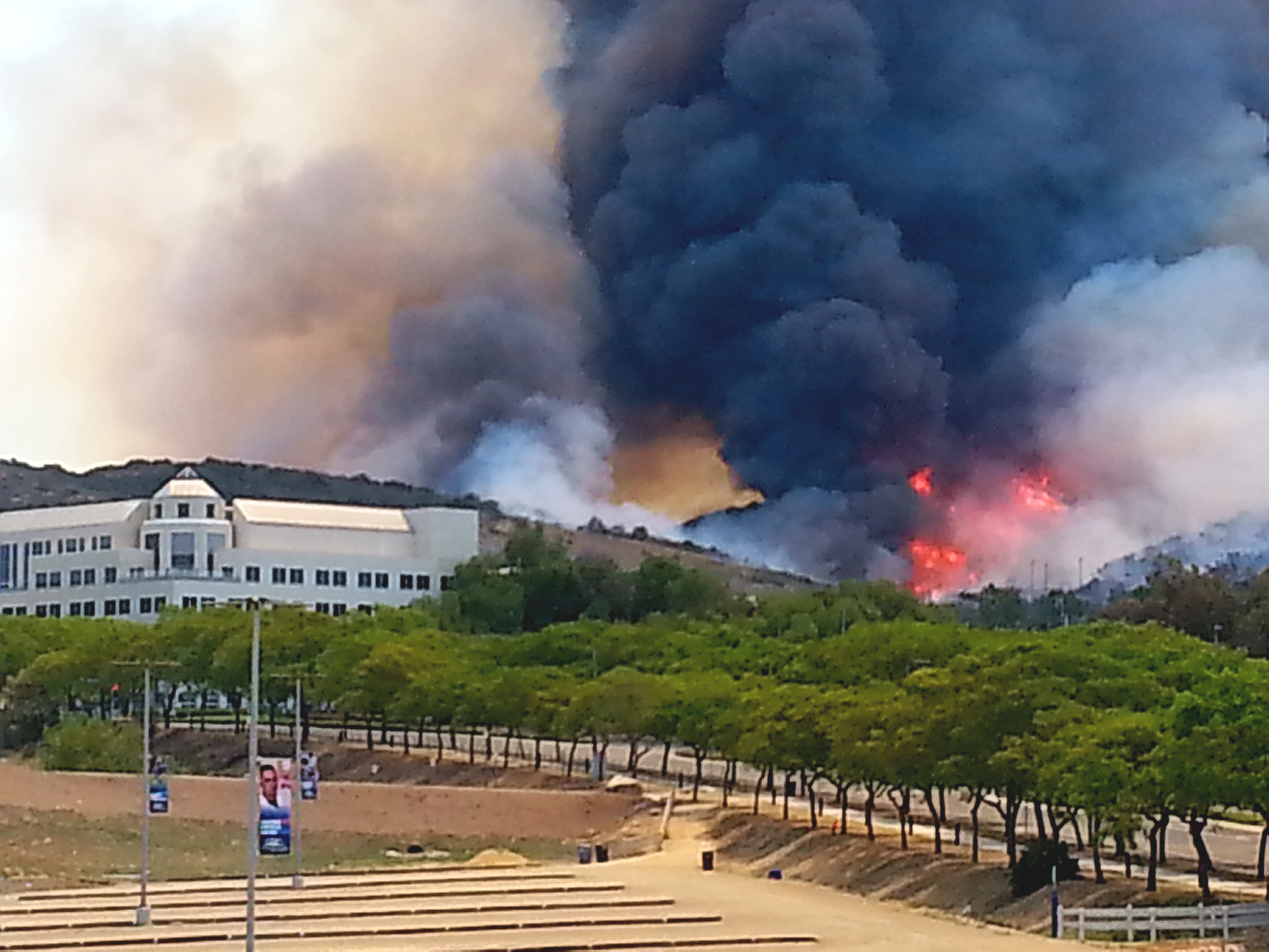 Wildfires break out behind CSUSM | Photo by Brandon Cline